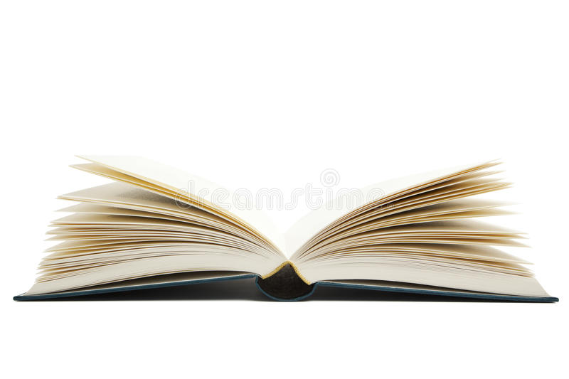 Opened blank book. Open book with blank pages isolated on white background, view from bottom royalty free stock photography