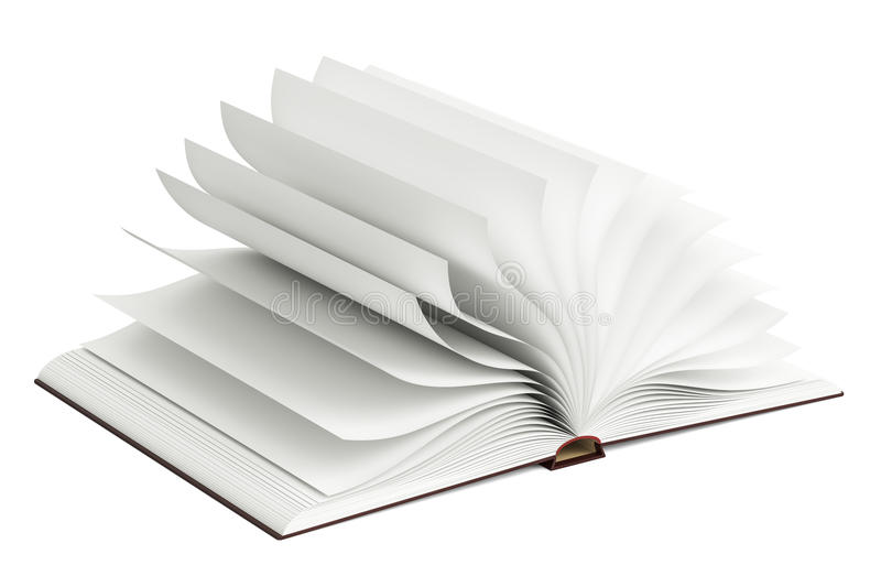 Opened blank book, 3D rendering royalty free illustration