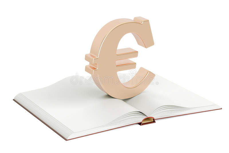 Opened blank book with euro symbol, 3D rendering stock illustration