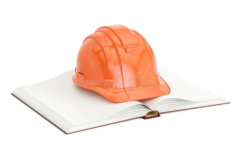 Opened blank book with hardhat, 3D rendering vector illustration