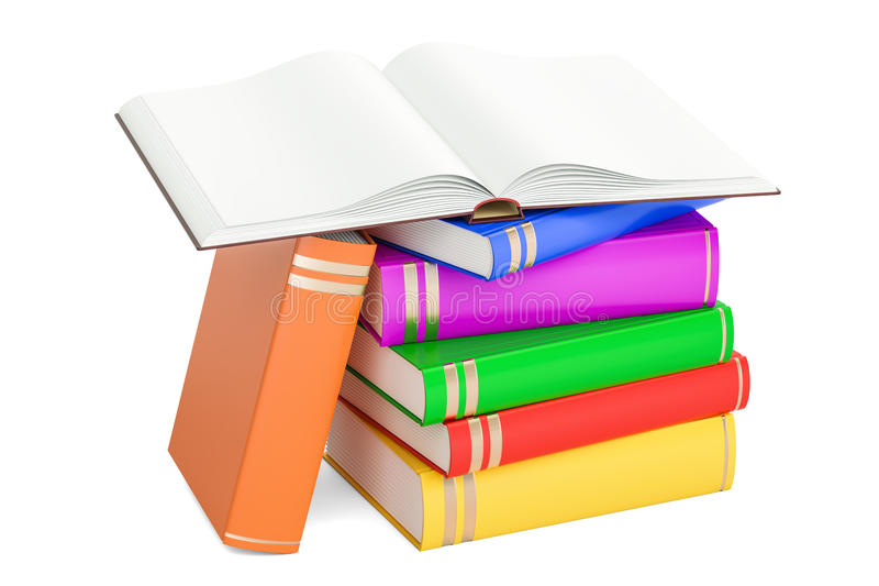 Opened blank book with heap of closed books, 3D rendering royalty free illustration