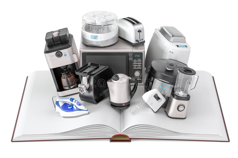 Opened blank book with household kitchen appliances, 3D rendering royalty free illustration