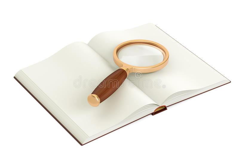 Opened blank book with magnifier, 3D rendering vector illustration