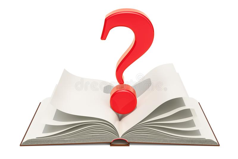 Opened blank book with question mark, 3D rendering stock illustration