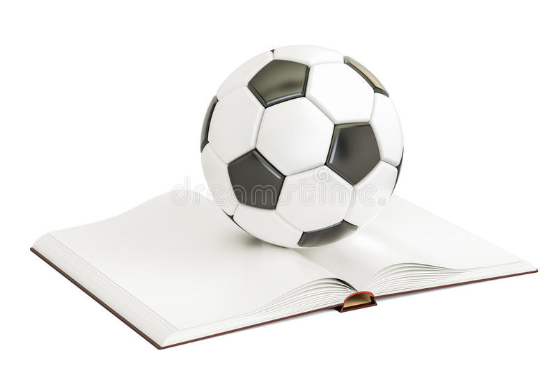 Opened blank book with soccer ball, 3D rendering vector illustration