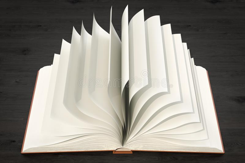 Opened blank book on the wooden table, 3D rendering stock illustration