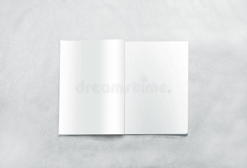Opened blank magazine pages mockup, isolated on textured background stock photo