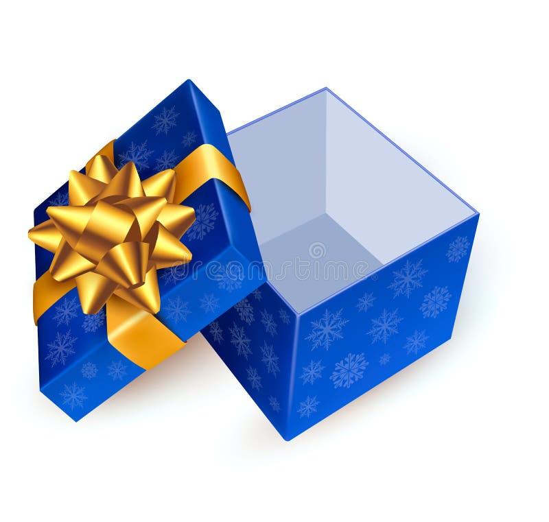 Opened blue gift box vector illustration