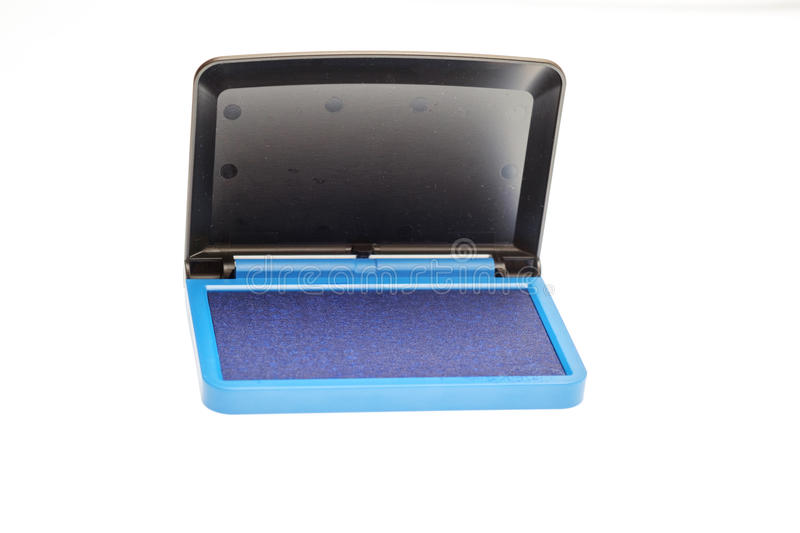Opened blue ink pad isolated. On whie backghround stock photo