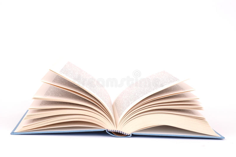 Opened book. With blue cover on white background stock images