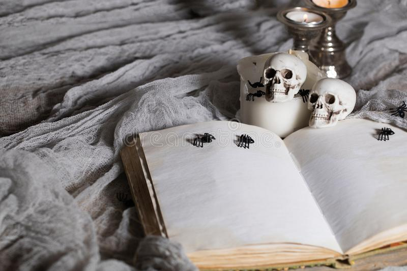 Opened book of bewitchment with free space for a text. Bewitchment symbols - skulls, herbs, candles, spiders in the background. Gray colors dominance stock photos