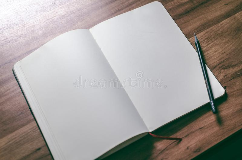 Opened Book and Black Pen royalty free stock photography