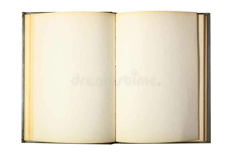 Opened book with blank pages. Isolated over white background stock photography