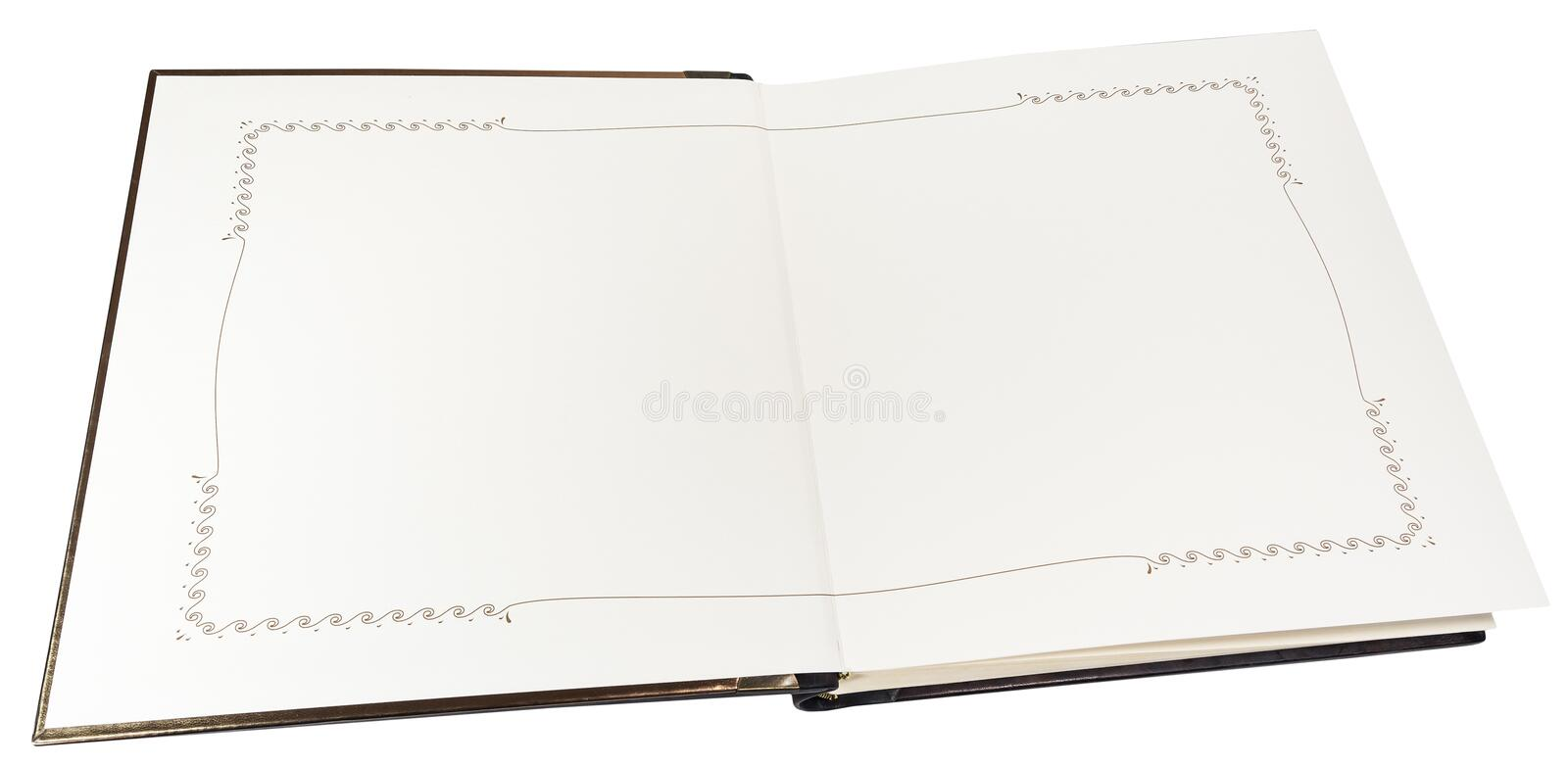 Opened book with blank pages on a white background. Isolated. Opened photo book with blank pages on a white background royalty free stock photos