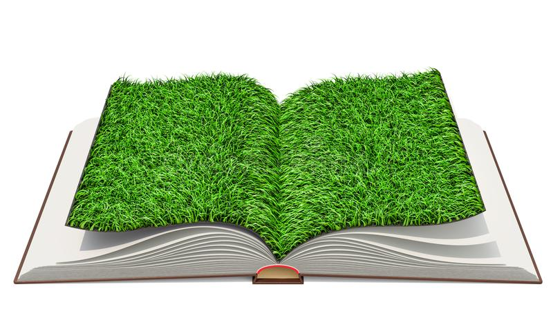 Opened book with grass on pages. 3D rendering stock illustration