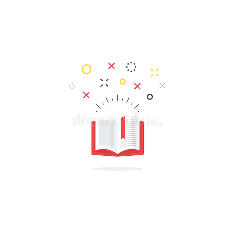 Opened book icon and logo. Amazing opened book. Library concept. Reading fun time. Creative writing, vector illustration royalty free illustration