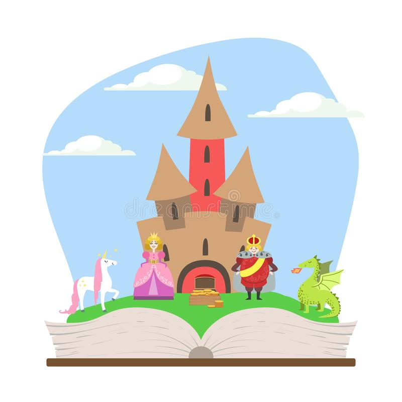 Opened Book with Magic Fairytale Castle, Prince, Princess, Unicorn and Dragon Vector Illustration royalty free illustration