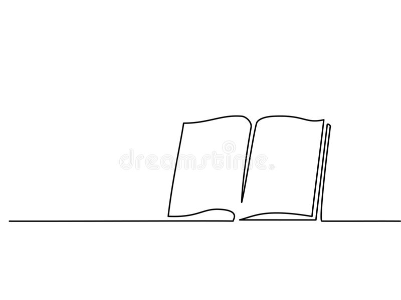 Opened book with pages isolated on white. Continuous line drawing. Vector illustration vector illustration