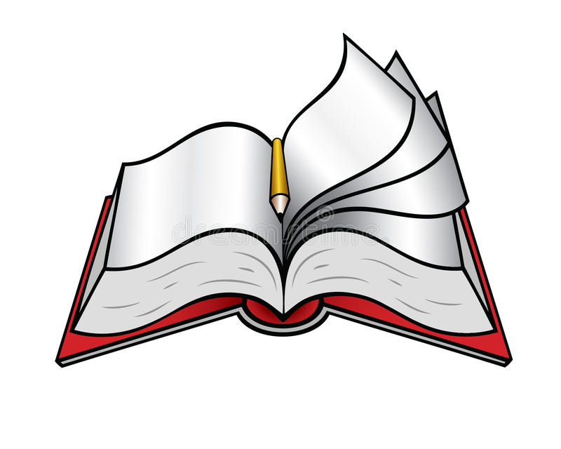 Opened book with pencil. Vector illustration of book with pencil stock illustration