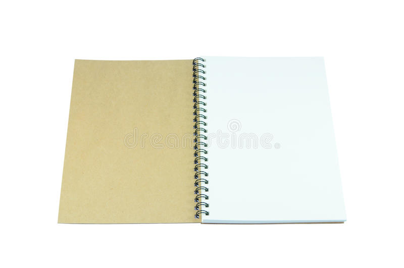 Opened book of recycled paper on white background stock images