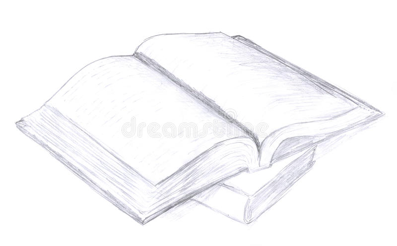 Download Opened book sketch, icon stock illustration. Image of concept - 12368094