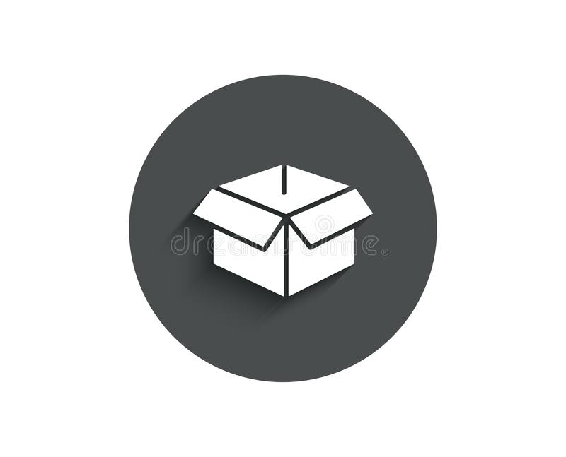 Opened box simple icon. Logistics delivery sign. Parcels tracking symbol. Circle flat button with shadow. Vector royalty free illustration