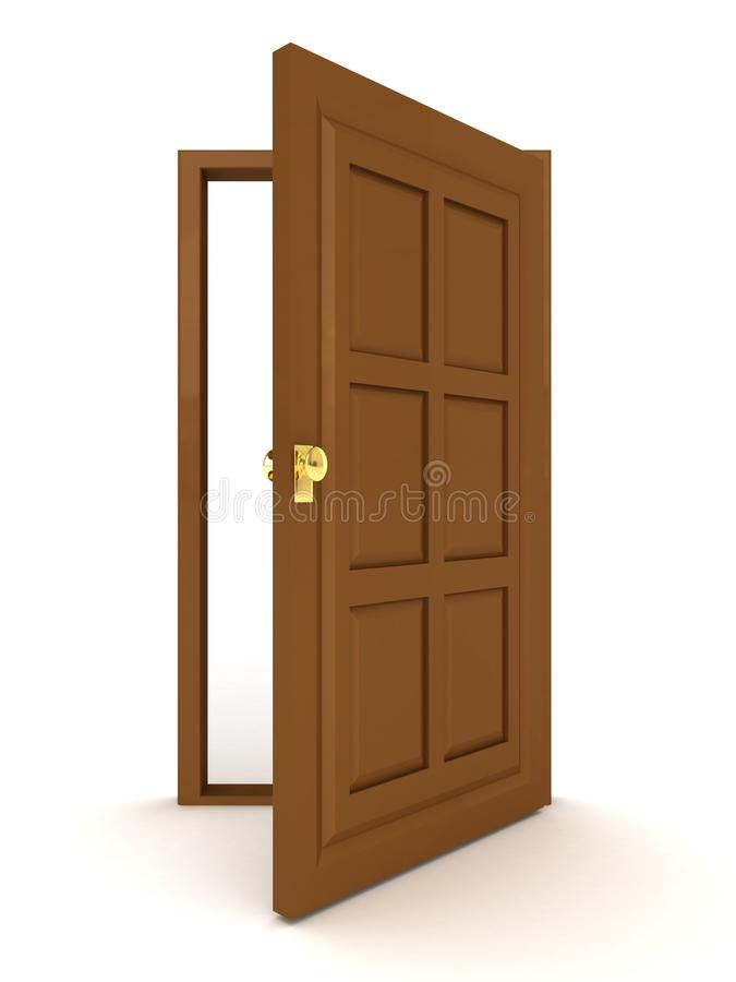 Opened brown natural wooden door on white. 3d royalty free illustration