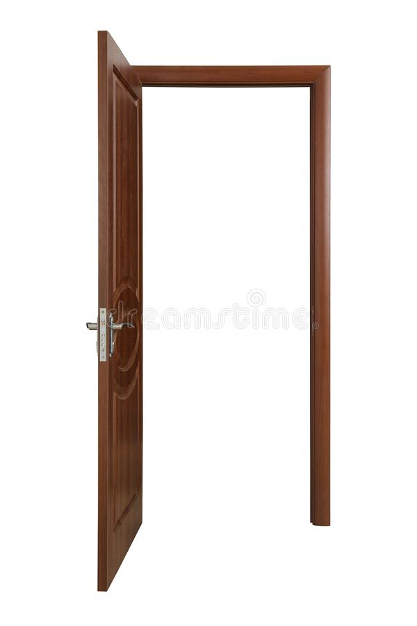 Opened brown wooden door on white. Opened brown wooden door isolated on white royalty free stock images
