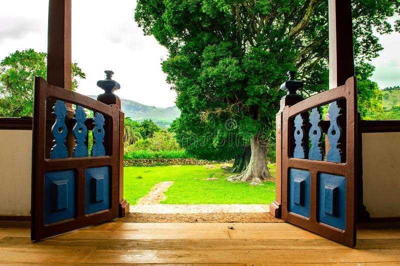 Opened Brown Wooden Gate stock photography