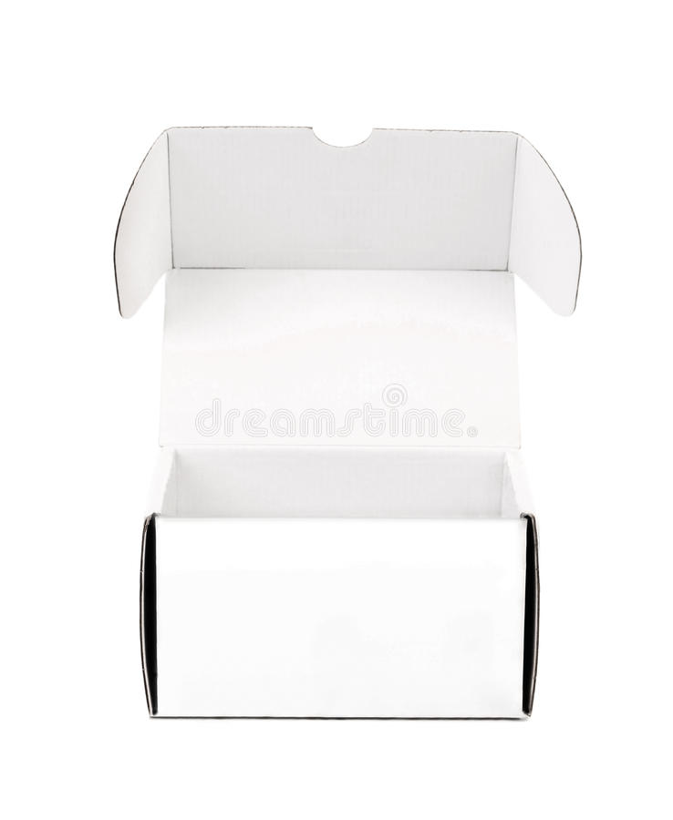 Opened cardboard box. Isolated on a white background royalty free stock photo