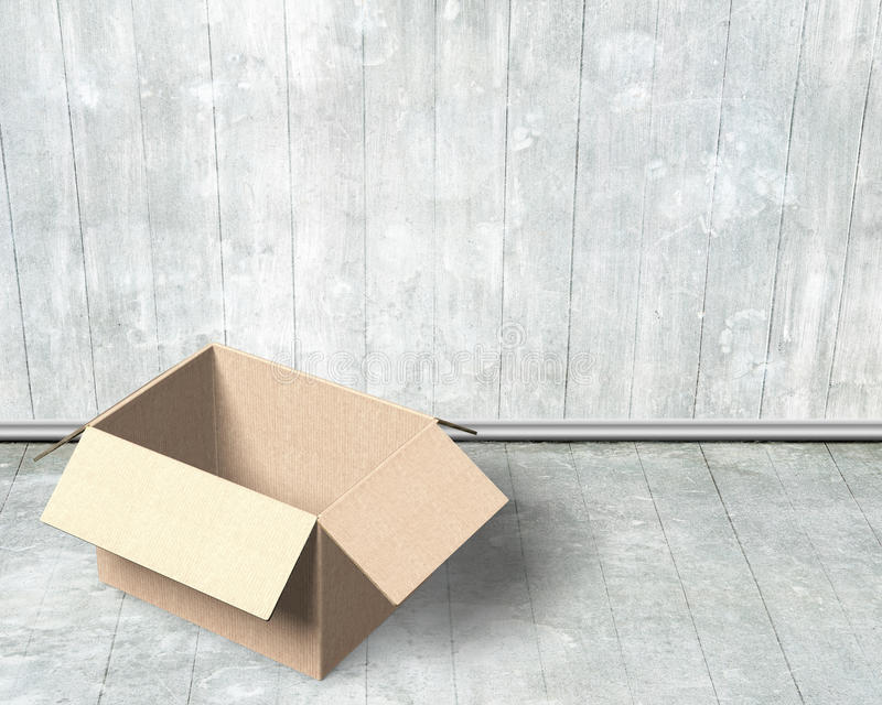 Opened cardboard box. On wood wall and floor indoors background, high angle view stock photos
