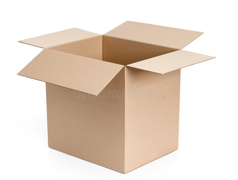 Opened cardboard package. Isolated, white background stock photo