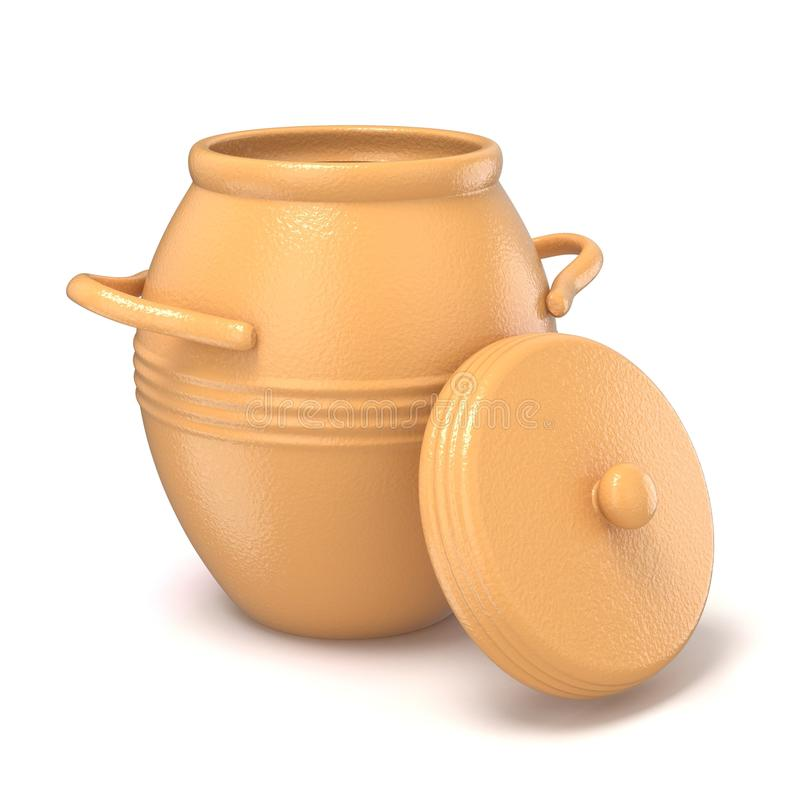 Opened clay pot with lid. 3D vector illustration