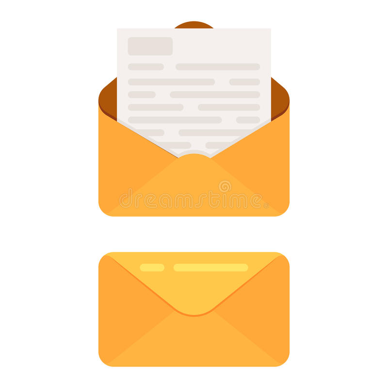 Opened and closed envelope royalty free illustration