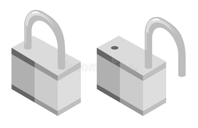 Download Opened and closed lock stock vector. Image of padlock - 14765976