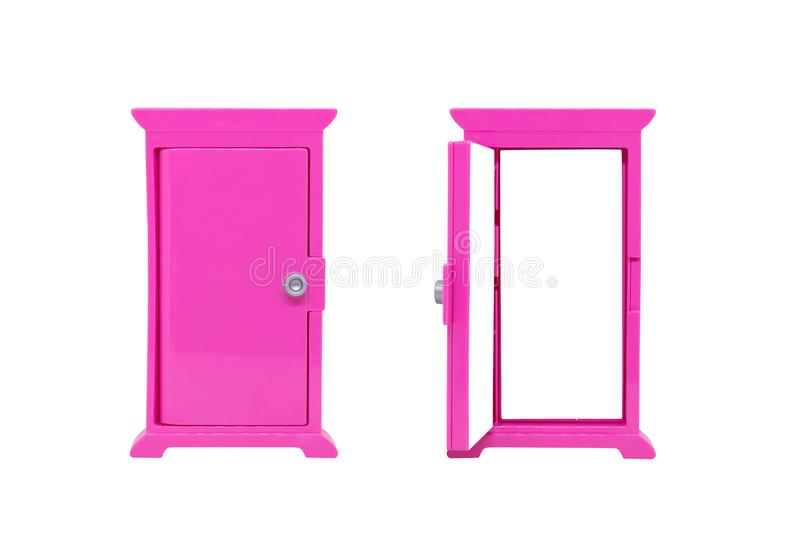 Opened and closed pink door model toy isolated on white background. stock photo