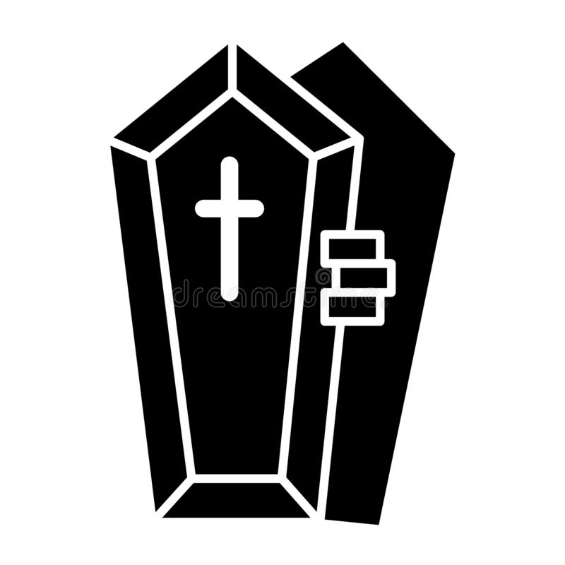 Opened coffin with the hand solid icon. Dead vector illustration isolated on white. Tomb with the cross glyph style. Design, designed for web and app. Eps 10 vector illustration