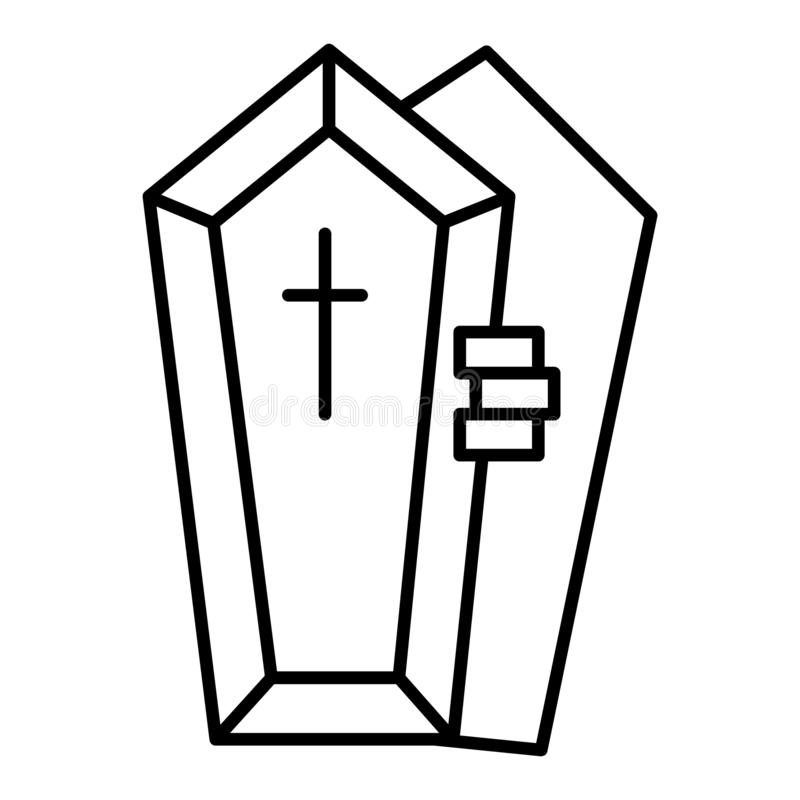 Opened coffin with the hand thin line icon. Dead vector illustration isolated on white. Tomb with the cross outline. Style design, designed for web and app. Eps royalty free illustration