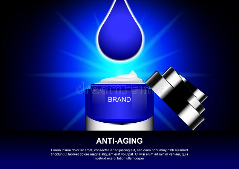 Opened cosmetic product with water drop and shining light.  royalty free illustration