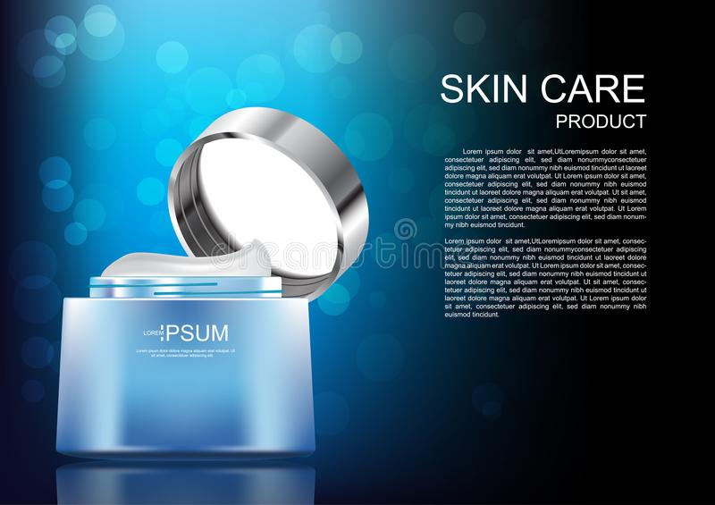 Opened cream on blue and black background with template and bokeh vector cosmetic ads stock illustration