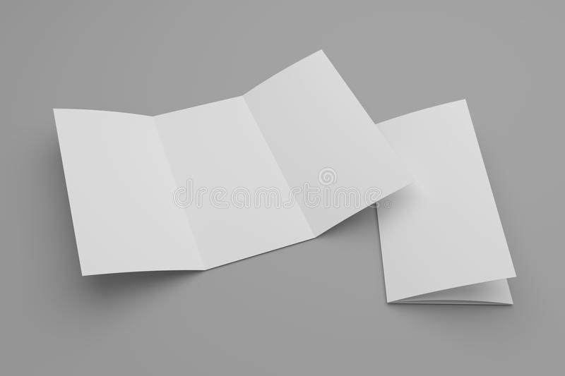 Opened 3d illustration tri-fold brochure mock-up and cover. Blank open tri-fold brochure mock-up and closed with cover. Soft shadow on gray vector illustration