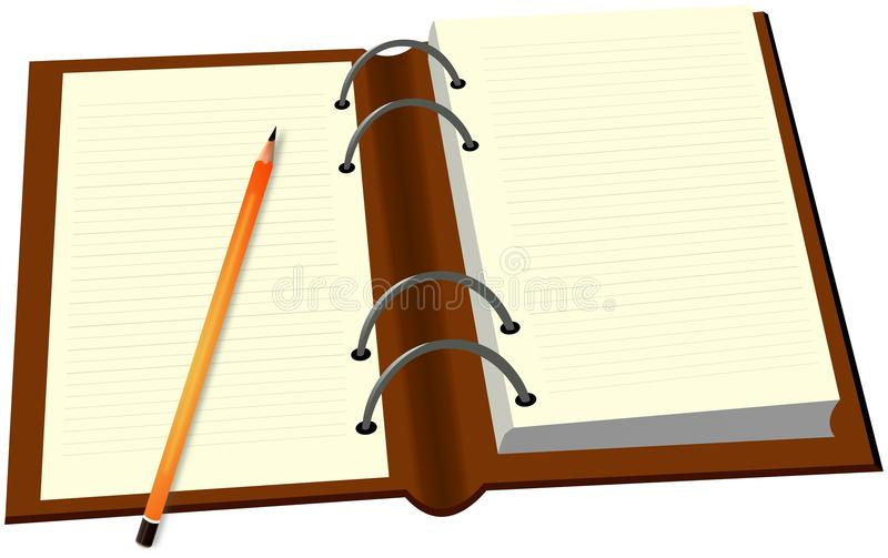 Opened diary and pencil royalty free illustration