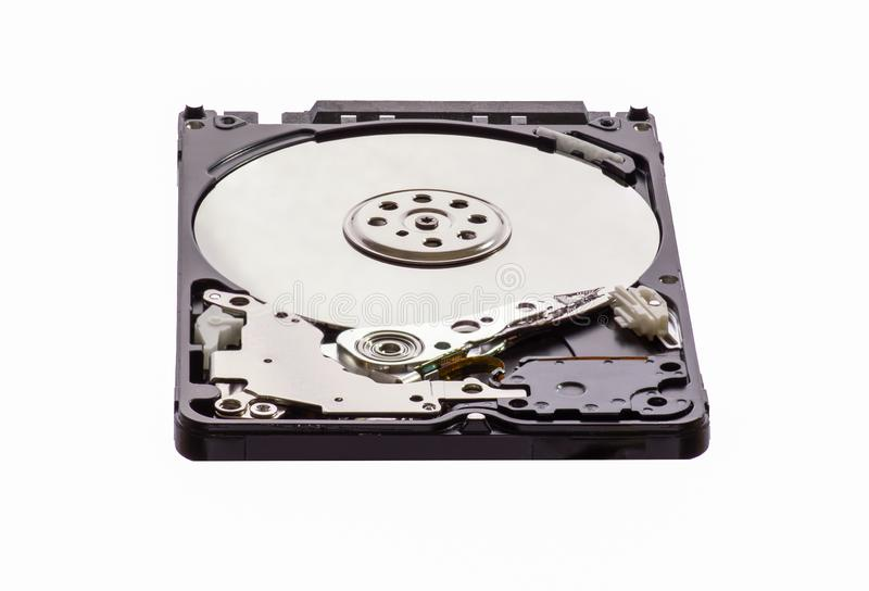 Opened disassembled hard drive from the computer, hdd with mirror effect. Isolated on white background royalty free stock photos