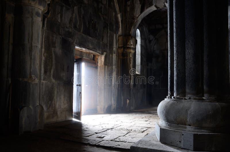 Opened door inside ancient christian church, Sanahin Monastery,u royalty free stock images