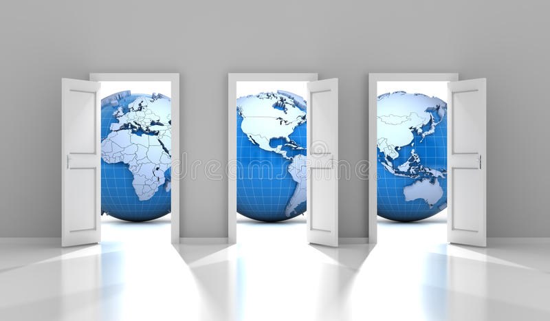Opened doors leading to different parts of the world. 3d render royalty free illustration
