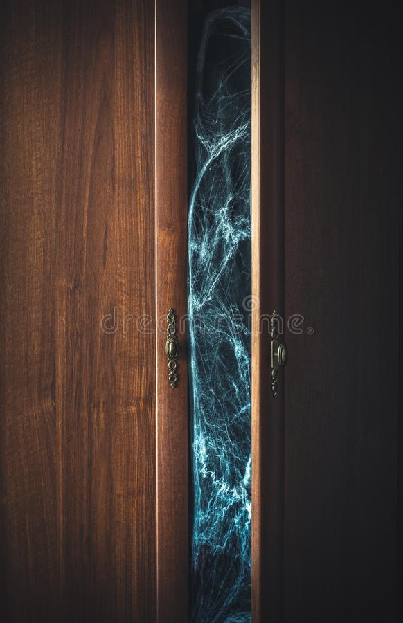Opened doors of a wardrobe and creepy spiderweb inside royalty free stock image