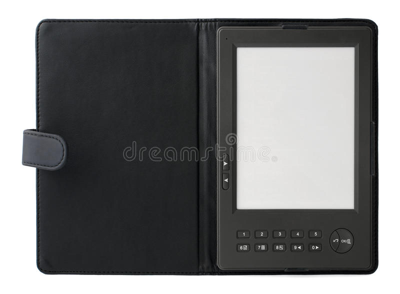 Opened Electronic Book Ebook With Leather Cover Royalty Free Stock Photo