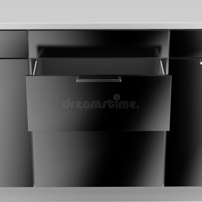 Opened empty black drawer. Isolated on a white background stock illustration