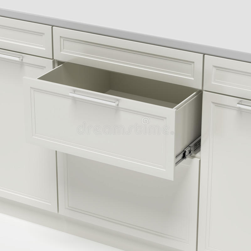 Opened empty white drawer royalty free illustration