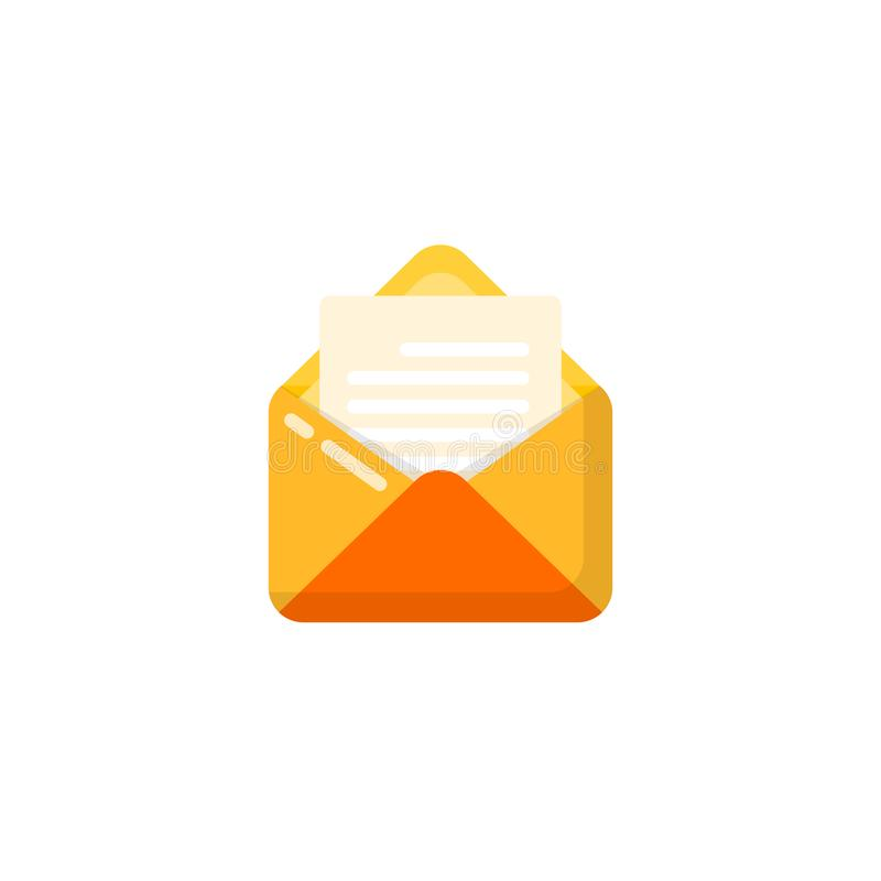 Opened envelope and document icon vector design. opened mail icon design. Opened envelope and document icon vector designs. opened mail icon design, app stock illustration